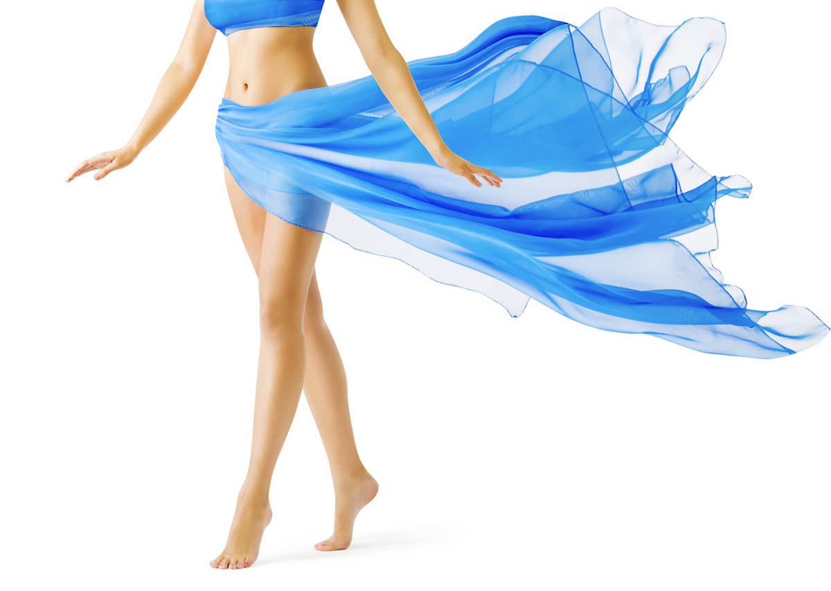 Girl with Perfect Body in Blue Waving Dress